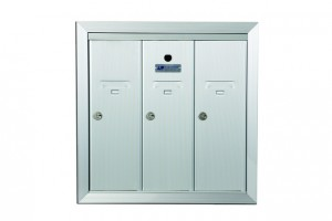 Vertical Mailbox with 3 Doors Anodized Aluminum